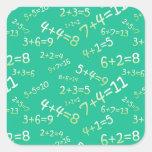 Sumas en la pizarra - Modelo verde Pegatina Cuadrada