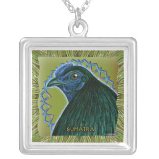 Sumatra Rooster Framed Silver Plated Necklace