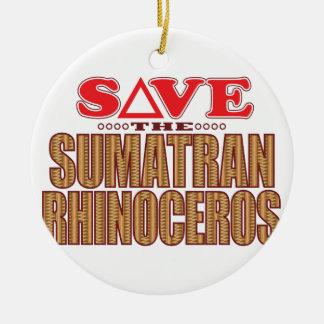 Sumatran Rhino Save Ceramic Ornament
