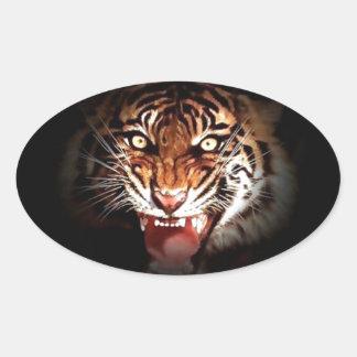 Sumatran Tiger Oval Sticker