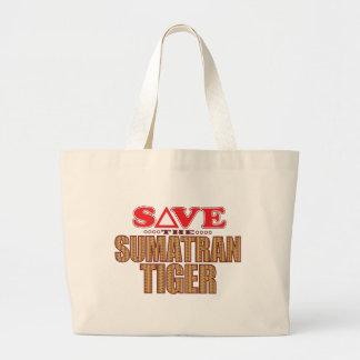Sumatran Tiger Save Large Tote Bag