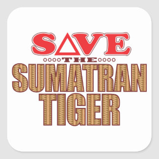 Sumatran Tiger Save Square Sticker