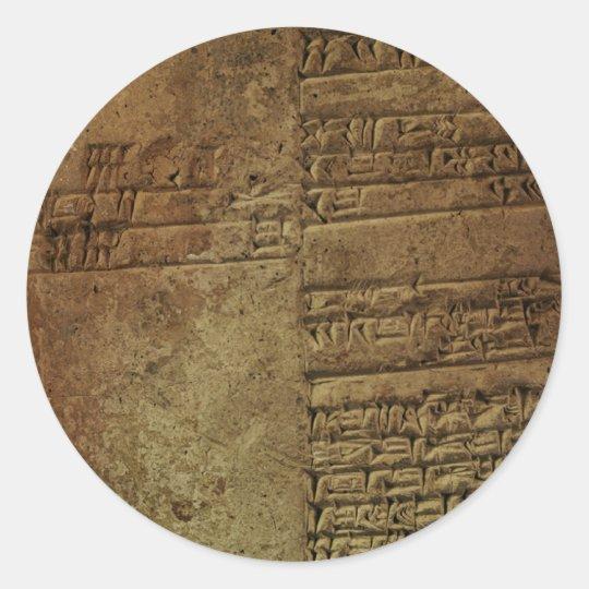 """Sumerian Cuneiform Writing"" Gift Series Classic Round Sticker"