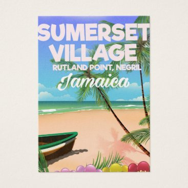 Beach Themed Sumerset Village Jamaica travel poster Business Card