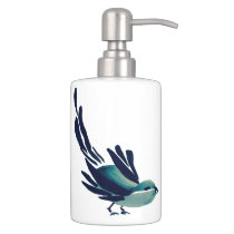 Sumi-e Bird Soap Dispenser & Toothbrush Holder