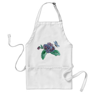 Sumi-e,  Blue Butterfly and Begonia Adult Apron
