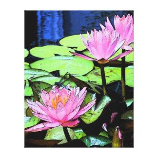 Sumi-e de Waterlily de la libélula Impresion En Lona