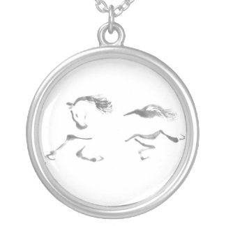 Sumi-e horse painting - Cosmic Wanderer Round Pendant Necklace
