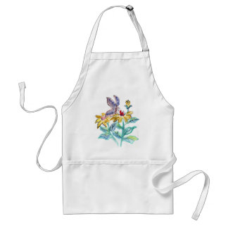 Sumi-e in color, Butterfly Treat Summer Flowers Adult Apron
