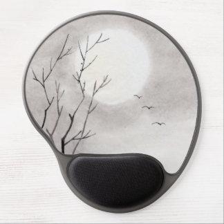 Sumi-e japonés del paisaje de la luna de la noche
