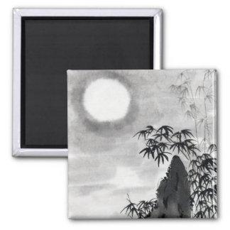 Sumi-e japonés del paisaje de la luna de la noche iman para frigorífico