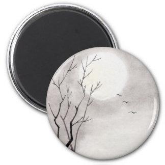 Sumi-e japonés del paisaje de la luna de la noche iman