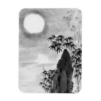 Sumi-e japonés del paisaje de la luna de la noche imán