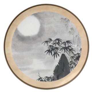 Sumi-e japonés del paisaje de la luna de la noche  plato para fiesta