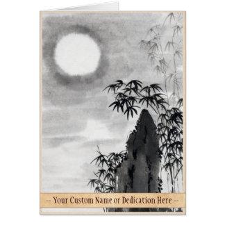 Sumi-e japonés del paisaje de la luna de la noche  tarjeta pequeña
