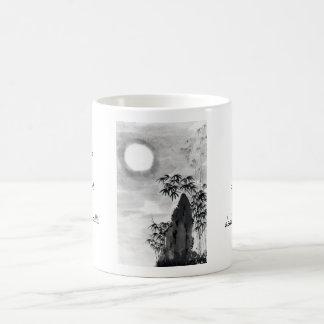 Sumi-e japonés del paisaje de la luna de la noche taza clásica