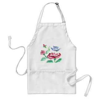 Sumi-e Red Rose and Blue Butterfly Adult Apron