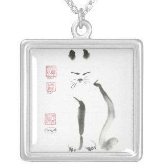 Sumi-e, Zen Cat Square Pendant Necklace