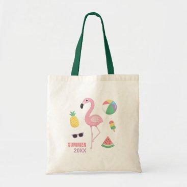 Beach Themed Summer 20XX Pink Flamingo Luau Girls Tote Bag