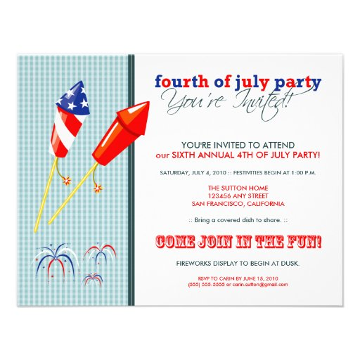 Summer 4th of July Party/Cookout Invitation :: 2