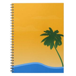 summer-679172 SUMMER VECTORS PALM TREES SUNSET OCE Spiral Notebook
