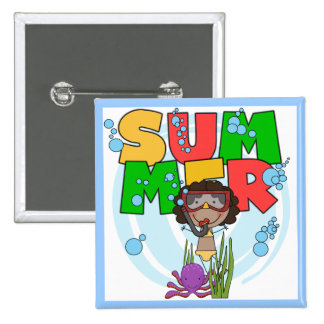 SUMMER African American Girl Tshirts and Gifts Pinback Button