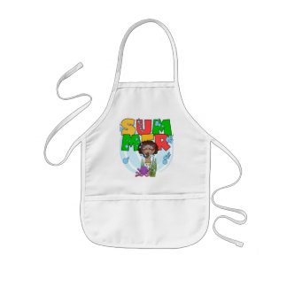 SUMMER African American Girl Tshirts and Gifts Kids' Apron