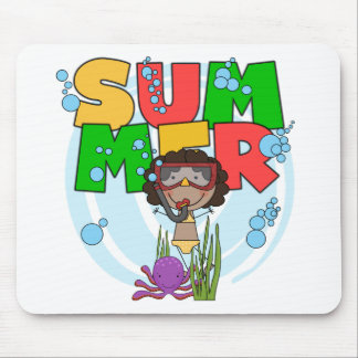 SUMMER African American Girl Tshirts and Gifts Mouse Pad