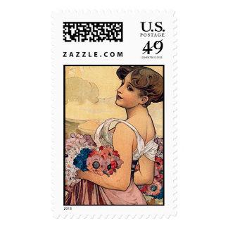 Summer, Alphonse Mucha - Postage Stamp