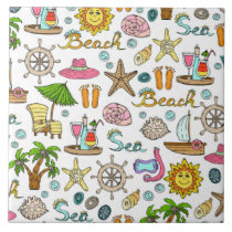 Summer and beach patterns ceramic tile