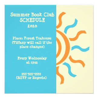 Summer and Spring Book Club Schedule & Invitation