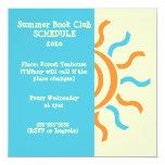 "Summer and Spring Book Club Schedule & Invitation 5.25"" Square Invitation Card"