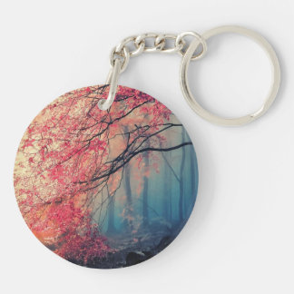 Summer and winter in the forest keychain