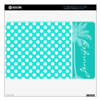 Summer Aqua Color Polka Dots Decal For The MacBook Air