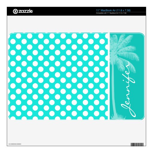 Summer Aqua Color Polka Dots Decal For The MacBook Air