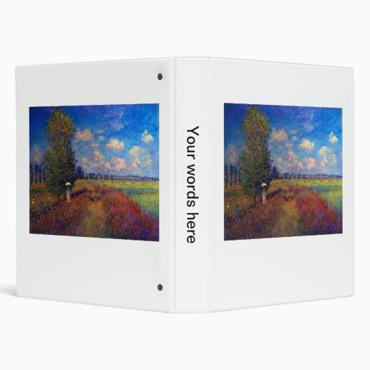 Summer art impressionist poppy fields by Monet 3 Ring Binder