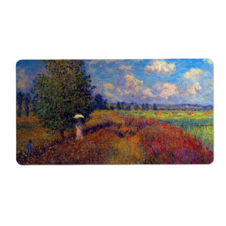 Summer art impressionist poppy fields by Monet Label