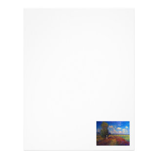 Summer art impressionist poppy fields by Monet Letterhead