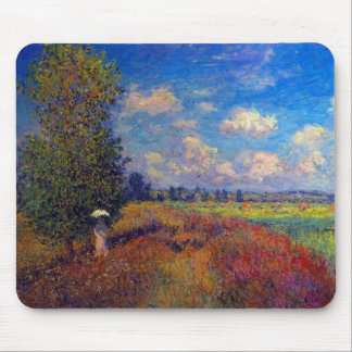 Summer art impressionist poppy fields by Monet Mouse Pad