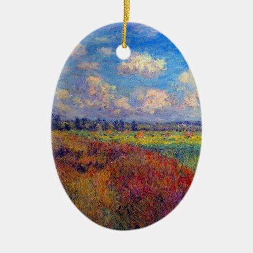 Summer art impressionist poppy fields by Monet Christmas Tree Ornament