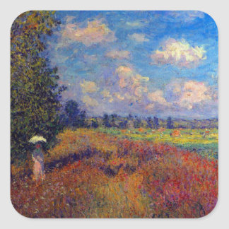 Summer art impressionist poppy fields by Monet Square Sticker