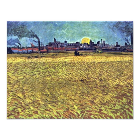Summer At Arles (Wheat Field) At Sunset By Vincent Card
