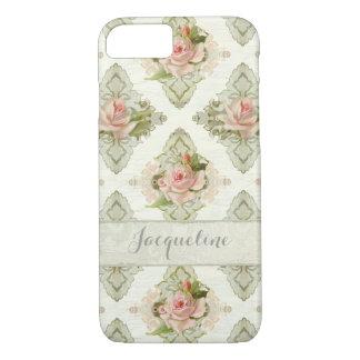 Summer at the Cottage, Vintage Damask Rose Pattern iPhone 7 Case