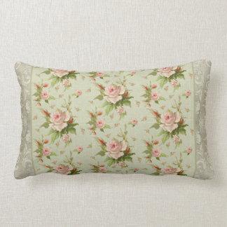 Summer at the Cottage Vintage Damask Rose Pattern Lumbar Pillow