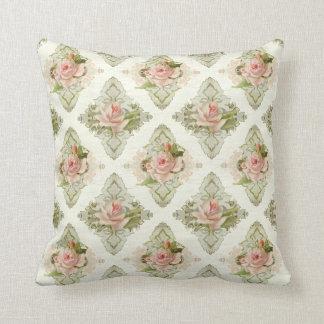 Summer at the Cottage, Vintage Damask Rose Pattern Pillow