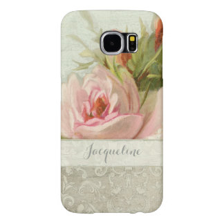 Summer at the Cottage, Vintage Damask Rose Pattern Samsung Galaxy S6 Case