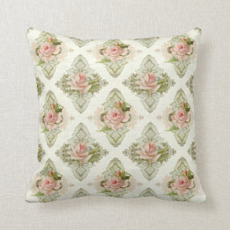 Summer at the Cottage, Vintage Damask Rose Pattern Throw Pillow