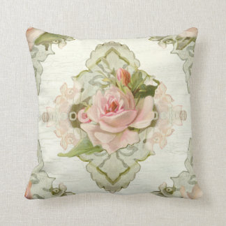 Summer at the Cottage - Vintage Style Modern Roses Throw Pillow