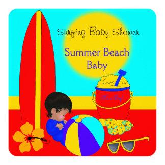 Summer Baby Shower Boy Beach Baby Surfing Baby 5B Card