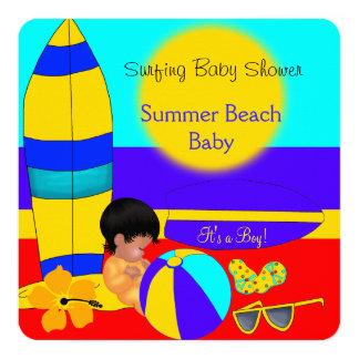 Summer Baby Shower Boy Beach Baby Surfing Baby Card